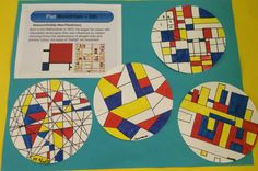 Going to modify this for grade 1: use cardboard circles I have, get them to start with lines, then graduate to primaries and then fill in with mixed secondaries... not sure if I'll even mention Mondrian!