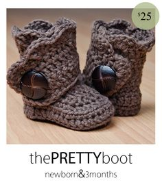 The Prettyboot from The Hooked Boutique. These adorable winter boots are perfect for any little girl who wants to stay warm & stylish. Custom hand crocheted with 100% cotton yarn. Come in many different colors. GOT TO FIGURE OUT THIS PATTERN!!!
