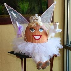 Tooth Fairy Pumpkin - How will you be decorating your pumpkins this Halloween? Halloween Pumpkins, Halloween Crafts, Halloween Decorations, Halloween Party, Pumpkin Decorations, Pumpkin Centerpieces, Halloween Themes, Halloween Costumes, Pumpkin Carving Contest