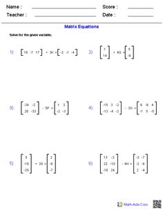 Matrix_Equations Worksheets