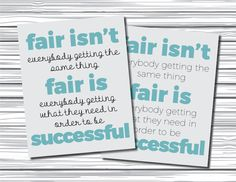 2-Pack Printable Classroom Sign - Fair Isn't Getting the Same Thing Poster - Teachers - Classroom Decor