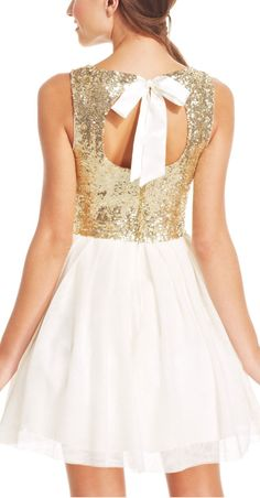 Sequined bow back dress #sponsored