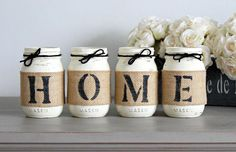 Rustic Home Decor - Hausewarming Gift - Set of 4 Mason Jars Spelling HOME This is a custom designed & hand-painted set of 4 pint size Mason Jars wrapped in burlap to spell out. Wine Bottle Crafts, Mason Jar Crafts, Mason Jar Diy, Burlap Mason Jars, Rustic Tabletop, Rustic Decor, Primitive Decor, Home Crafts, Diy Home Decor