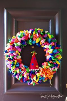Happy, Happy Birthday wreath for front door of house party! Deflated balloons and hat. Birthday Balloon Wreath, Birthday Balloons, Birthday Fun, Birthday Wreaths, Birthday Month, Birthday Ideas, Balloon Party, Birthday Parties, Birthday Decorations
