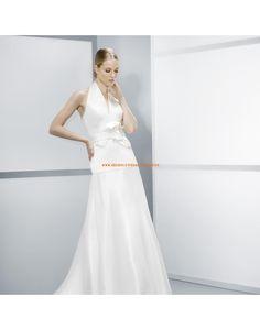 Moderne Nackhalter A-linie Hochzeitskleider aus Satin- Jesús Peiró