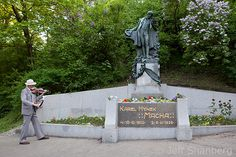 May 1st on Petrin Hill. A day of love traditionally celebrated on Petrin Hill near this statue of famous romance poet Karel Hynek Macha