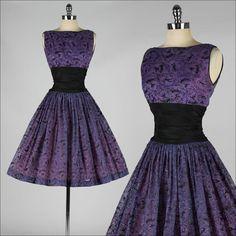 4093 | Vtg 50s Purple Chiffon Glitter Flocked Dancers Prom Party Dress XS/S