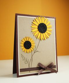 Handmade Thank You Cards - Sunflower card- Friendship Greetings - Thank You Wishes - Hello Cards - Blank Greeting Cards - Fall cards by LittleLu4U on Etsy