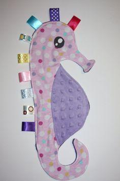 Seahorse taggie blanket pink with multi color by TenderLovies, $15.00