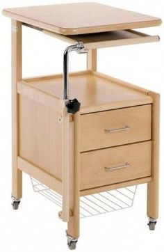 bedside locker with integrated overbed table hospital bed