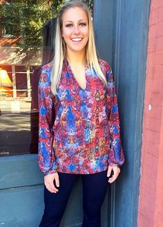 """""""Colors Of The Wind"""" Blouse is one of our favorite new arrivals! #wrinklefree"""