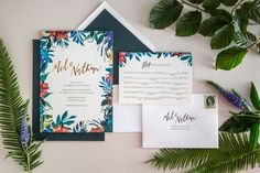 The Distillery: Wedding Invitations Brief: A set of wedding invitations, including general invitation, RSVP form and mailing envelope, with floral design Solution: Bright colours, lively floral design: eye catching. Stand out name of bride and groom, clean simple typeface.