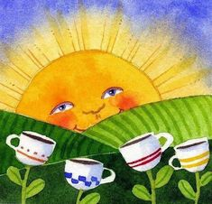 Coffee and sunshine, a great start to any day~ Good Morning Wishes Friends, Good Morning Sunshine, Coffee Girl, Morning Motivation, Cartoon Images, Coffee Cups, Projects To Try, Painting, Coffee Break