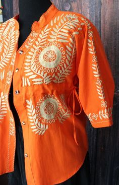 Orange   Cream Hand Embroidered Blouse Jacket Chiapas Mexican Frida Kahlo  Boho 5768e4ee1a7bc