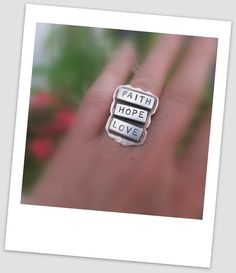 FAITH HOPE LOVE ring  - hand fabricated in sterling silver and copper by JoDeneMoneuseJewelry on Etsy, $65.00