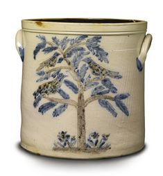 A RARE THREE-COLORED INCISED SALT GLAZED STONEWARE CROCK, N. CLARK  CO., NEW YORK, CIRCA 1840