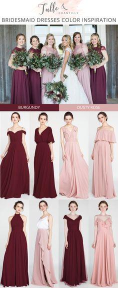 a2760a46b573 burgundy and dusty rose bridesmaid dresses 2019 #wedding  #weddinginspiration #bridesmaids #bridesmaiddress #