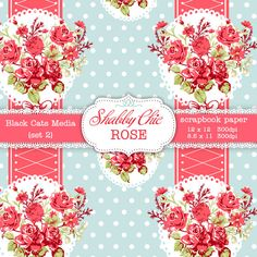 Shabby Chic Digital paper 12 x 12 in AND 8.5x11 in Shabby