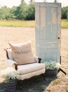 Blue vintage door and chair with a Michigan pillow makes for a perfect entrance to this outdoor reception! Outdoor Chairs, Outdoor Decor, Rustic Theme, Rustic Elegance, Wedding Decorations, Decor Wedding, Rustic Wedding, Wedding Photos, Elegant