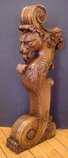 CARVED OAK LION