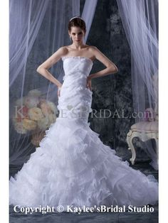 Satin and Tulle Strapless Cathedral Train Mermaid Wedding Dress with Ruffle