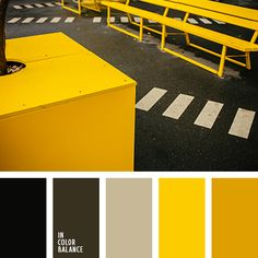 In this gamma shades of yellow play a crucial role bringing brightness, freshness, persistence to severe gray combinations. This palette is associated with Black Color Palette, Colour Pallete, Color Combos, Colour Schemes, Color Palettes, Colour Colour, Orange Color, Color Harmony, Color Balance