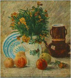 Jarrón con flores, cafetera y fruta.1887