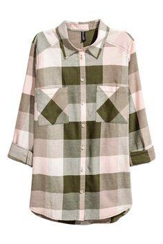 Фланелевая рубашка - Розовая пудра/Клетка - Женщины   H&M RU 1