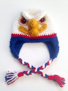 Crochet Eagle hat pattern, America, USA, by CraftedVisions Loom Knit Hat, Crocheted Hats, Crochet Yarn, Crochet Hooks, Crochet Flowers, Free Crochet, Crochet Patterns, Knitting Patterns, Hat Patterns