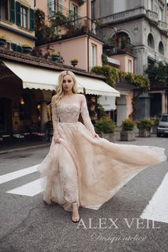 c8b22884376 Beautiful blush wedding or evening dress ELVIONA with amazing lace flower  patterns