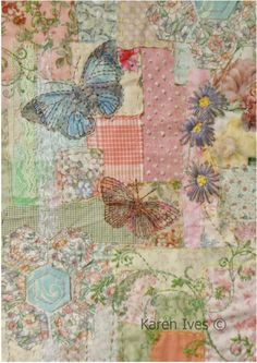 It would be so pretty to make a patchwork quilt and machine embroider butterflies, etc. Garden patchwork and embroidery From Karen Ives Vintage Embroidery, Embroidery Applique, Embroidery Stitches, Embroidery Patterns, Quilt Patterns, Machine Embroidery, Quilting Templates, Garden Embroidery, Crazy Quilting