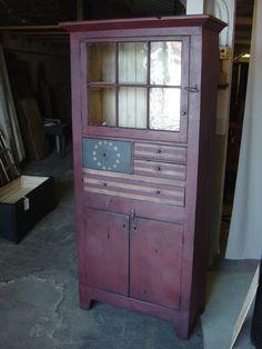 primitive flag patriotic cupboard hutch cabinet