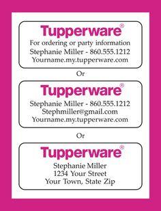 TUPPERWARE Representative CATALOG or Address LABELS, Home Parties