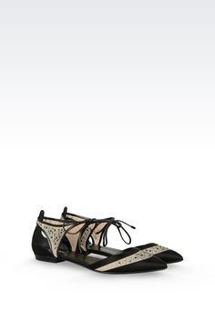 Women Ballet Flats Giorgio Armani BALLET FLAT IN SATIN AND MESH WITH RHINESTONES - Official Online Store