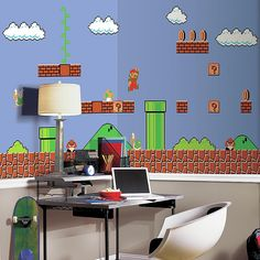 RoomMates Super Mario Retro XL Chair Rail Prepasted Mural, X Ultra-Strippable \\. RoomMates Super Mario Retro XL Chair Rail Prepasted Mural, x Ultra-Strippable This Retro Super Mario XL Wallpaper Mural is a true blast from the past! Super Mario Land, Super Mario Bros, Nintendo Room, Nintendo Decor, Super Nintendo, Nintendo Games, Mario Video Game, Video Games, Mario Room