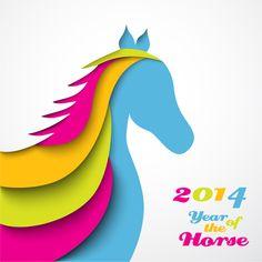 2014 horses creative design vector 09