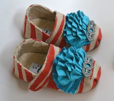 Red Zebra Vintage Baby Shoes  size 15  with Hair Flower by lavalya, $42.00