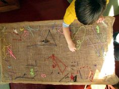 teach kids to sew on a tapestry table--burlap and a coffee table base- or on a picture frame or large embroidery hoop