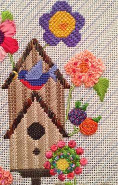 garden, birdhouse, needlepoint