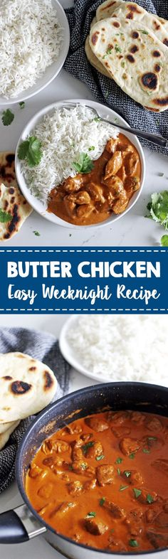 How to make super easy Indian butter chicken at home! Ready in 30 minutes, perfect for quick weeknight dinners and delicious served on white rice with garlic naan on the side! #easyrecipe #quickdinner #dinner #indianfood #butterchicken #chickenrecipe #30minutemeal #homemadetakeout #weeknightmeal