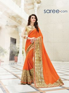 ORANGE GEORGETTE SAREE WITH EMBROIDERY WORK