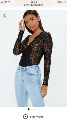 ee3250889fe6 Missguided Black Lace Deep Plunge Wrap Over Bodysuit Size 8 #fashion  #clothes #shoes