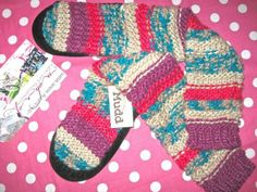 NEW MUDD KNIT KNEE HIGH PINK SOCK BOOT BOOTIE SLEEP HOUSE SLIPPERS 7 8 MED M NWT
