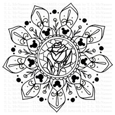Disney fan art mandalas by me! Been hiding them for too long. This is the only one I digitally altered to get the rose centered. I was too lazy to redraw it that day. Disney Diy, Disney Crafts, Disney Fan Art, Disney Coloring Pages, Adult Coloring Pages, Coloring Book Pages, Disney Mandala Tattoo, Vanellope Y Ralph, Disney Silhouettes