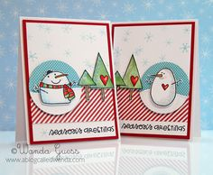 Season's Greetings card by Wanda Guess - Paper Smooches - Swanky Snowdudes, Warm Hearts