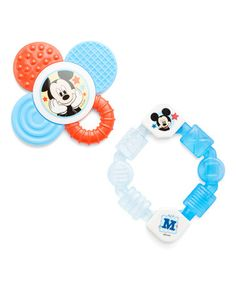 Love this Red & Blue Mickey Mouse Teether Set on #zulily! #zulilyfinds