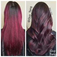 I wanted to soften my client @raeview 6 months old magenta color. A cm trim and @schwarzkopfusa vibrance gloss and tone 6-7 4-65 13vol dedicated developer to soften and neutralized the violet under tones in the magenta previous color and created a softer redwood tone. You can prelift base with highlights using #fashionlights by #igora  to connect the demarcation first before glossing. #schwarzkopfPRO #marsala #pantoneoftheyear