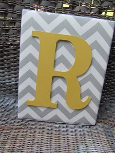 Wall Letters, 11x14, Gray Chevron, Framed Monogram, Chevron Letters, Painted Letters, Gray and Yellow Wood Letters, Personalized, Monogram. $25.99, via Etsy.