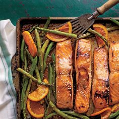 Honey-Soy-Glazed Salmon with Veggies and Oranges - Simple Sheet Pan Suppers - Southernliving. Recipe: Honey-Soy-Glazed Salmon with Veggies and Oranges Orange Recipes, Salmon Recipes, Fish Recipes, Seafood Recipes, Seafood Appetizers, Easy Dinner Recipes, Dinner Ideas, Easy Meals, Supper Ideas