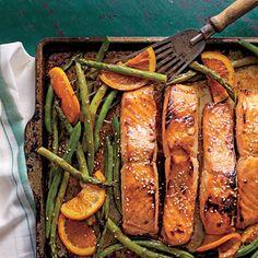 Honey-Soy-Glazed Salmon with Veggies and Oranges | MyRecipes.com